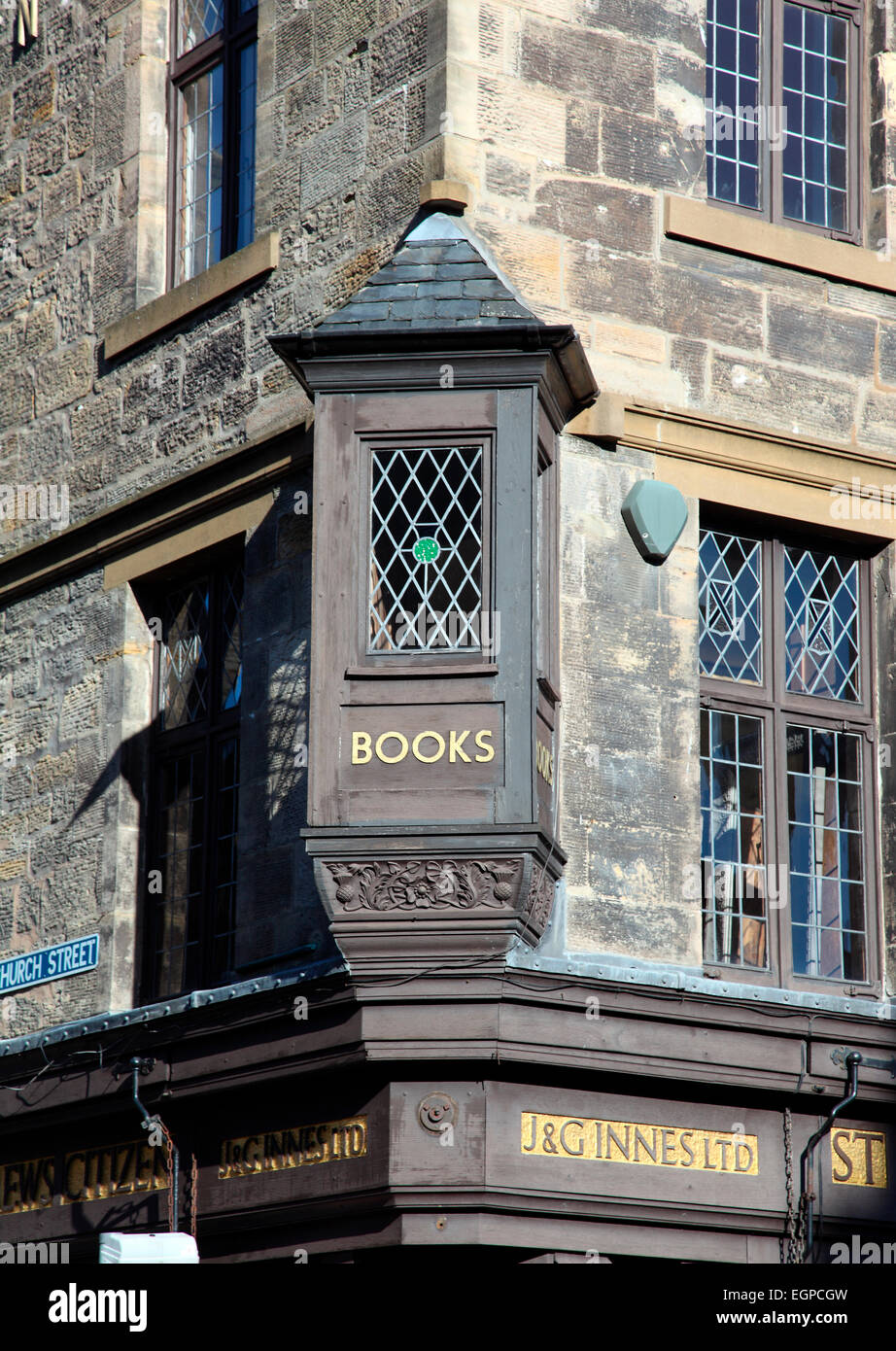 J & G Innes independent booksellers in St Andrews. - Stock Image