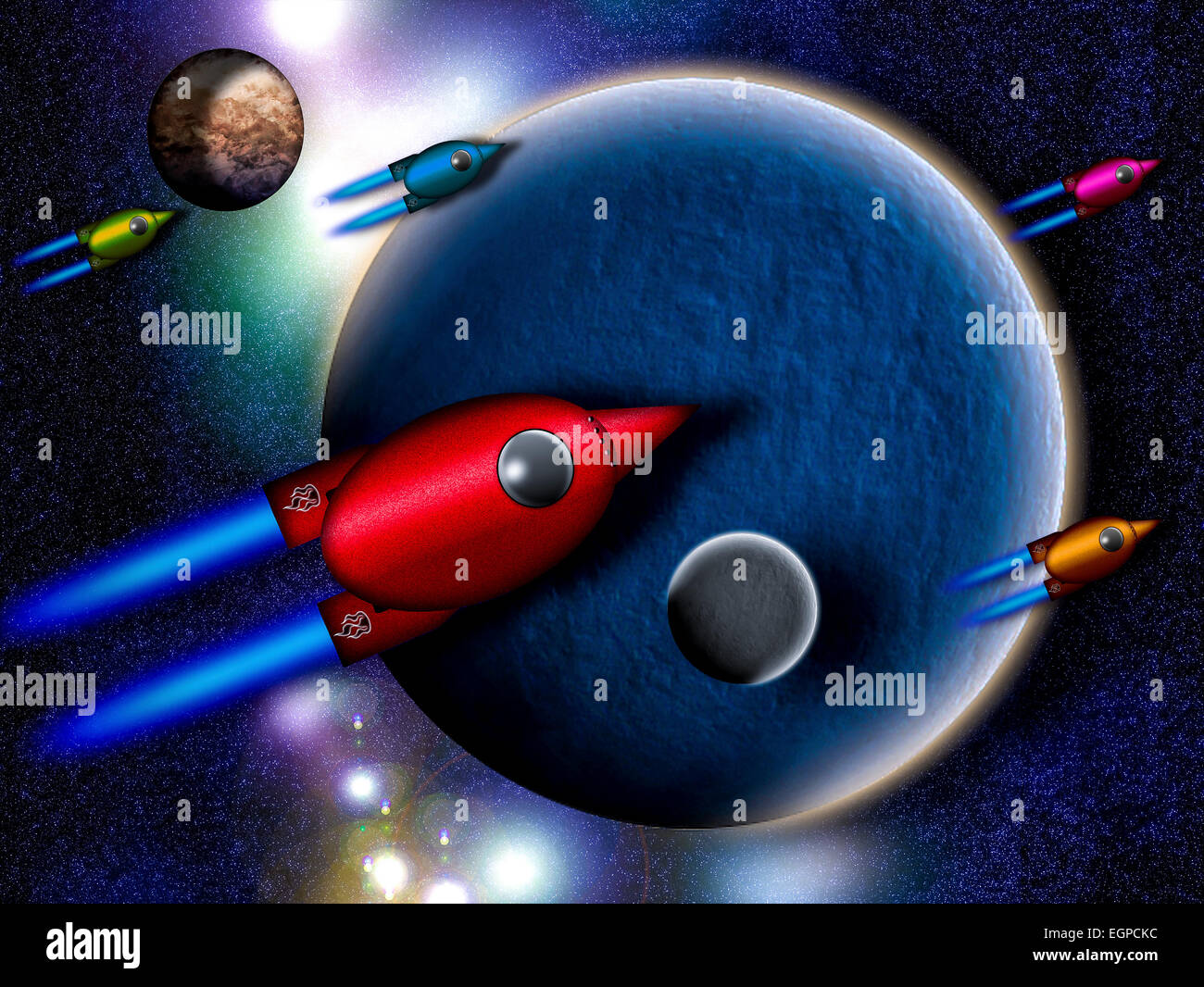 illustration of Spacecraft leaving the Solar System - Stock Image