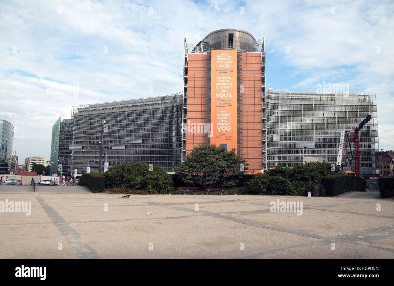 The Berlaymont houses the headquarters of the European Commission, which is the executive of the EU, in Brussels, - Stock Image