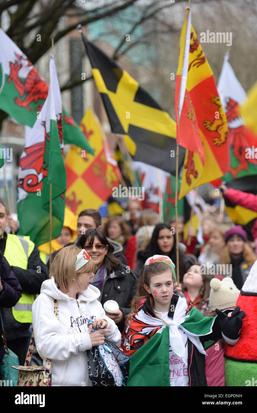 Swansea, Wales, UK. 28th February, 2015. People taking part in St David's day weekend celebrations in Swansea - Stock Image