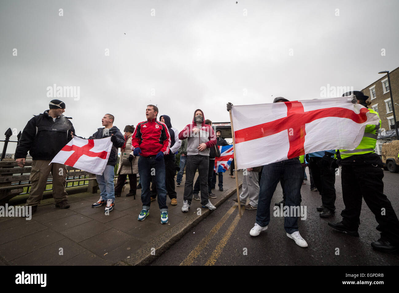 Kent, UK. 28th Feb, 2015. Anti-UKIP protesters clash with Nationalist groups Credit:  Guy Corbishley/Alamy Live - Stock Image
