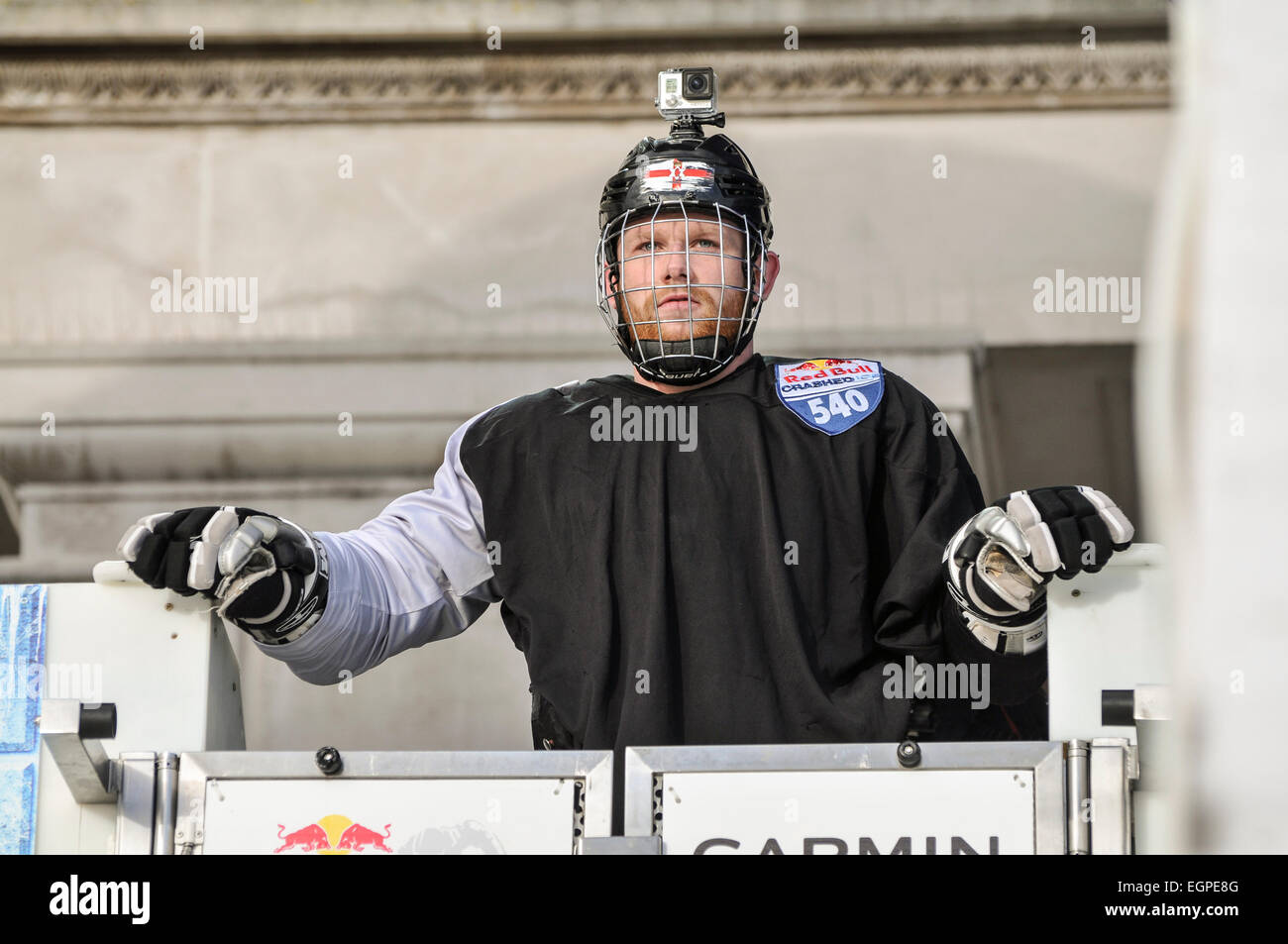 Belfast, Northern Ireland. 20/02/2015 - A skater wearing a Go-Pro video camera at the start of the Red Bull Crashed - Stock Image