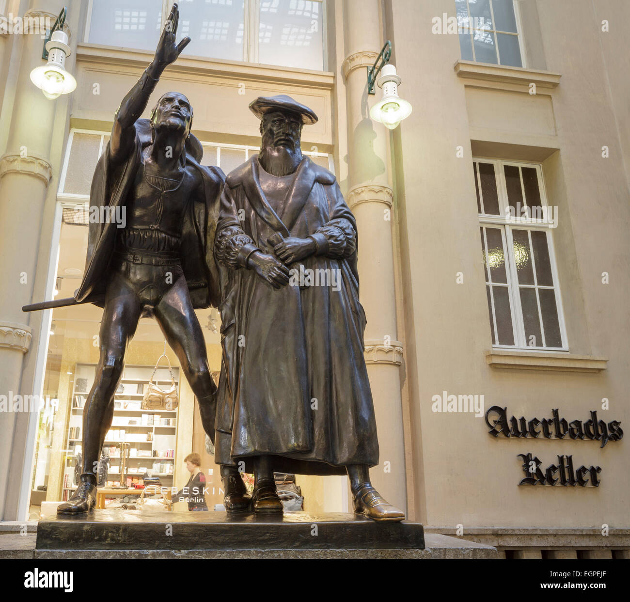 Auerbachs Keller, Statue of Mephisto and Faust, Leipzig, Saxony, Germany - Stock Image