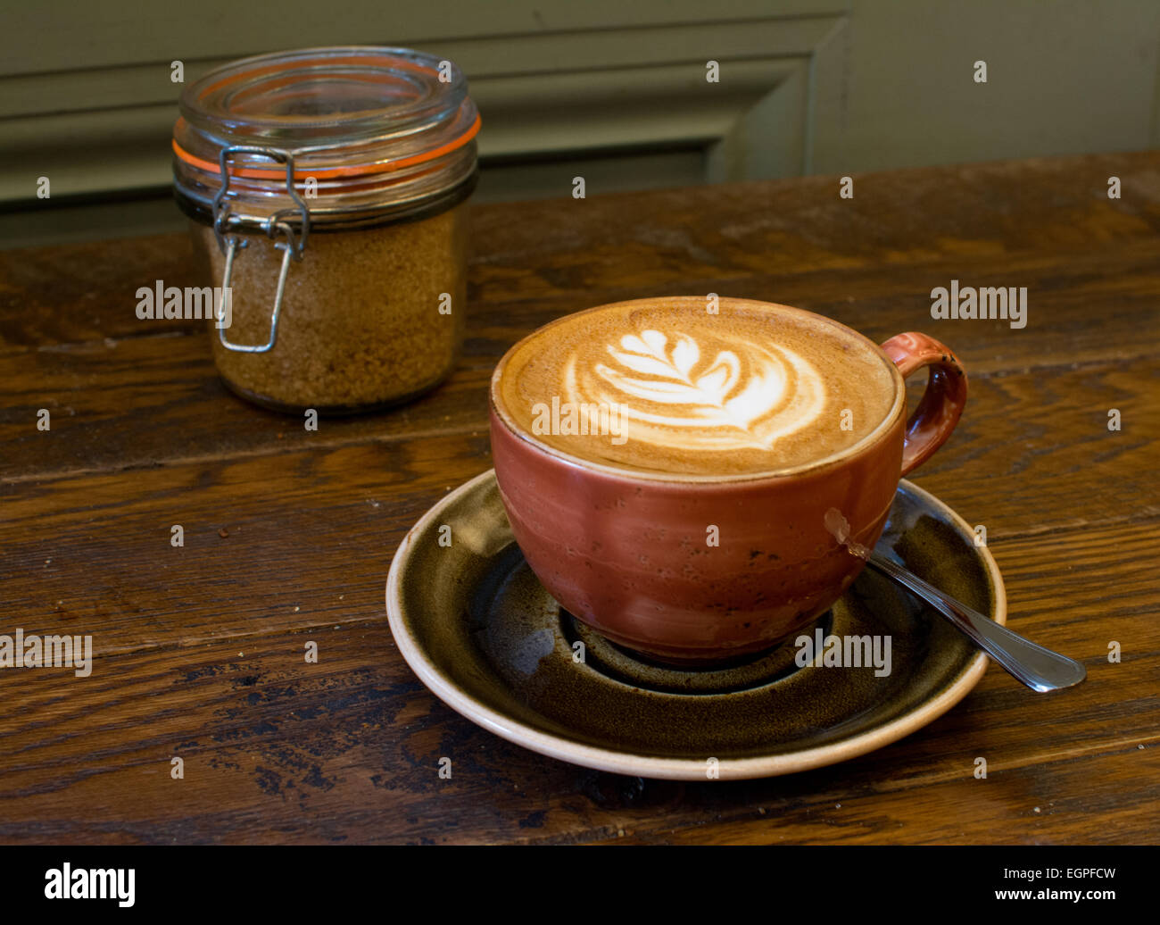 Flat white coffee cup in London - Stock Image