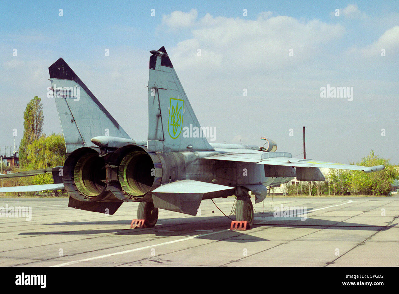 Supersonic all-weather fighter-interceptor MiG-25PD Ukrainian Air Force. Air base in the city of Dnepropetrovsk. - Stock Image