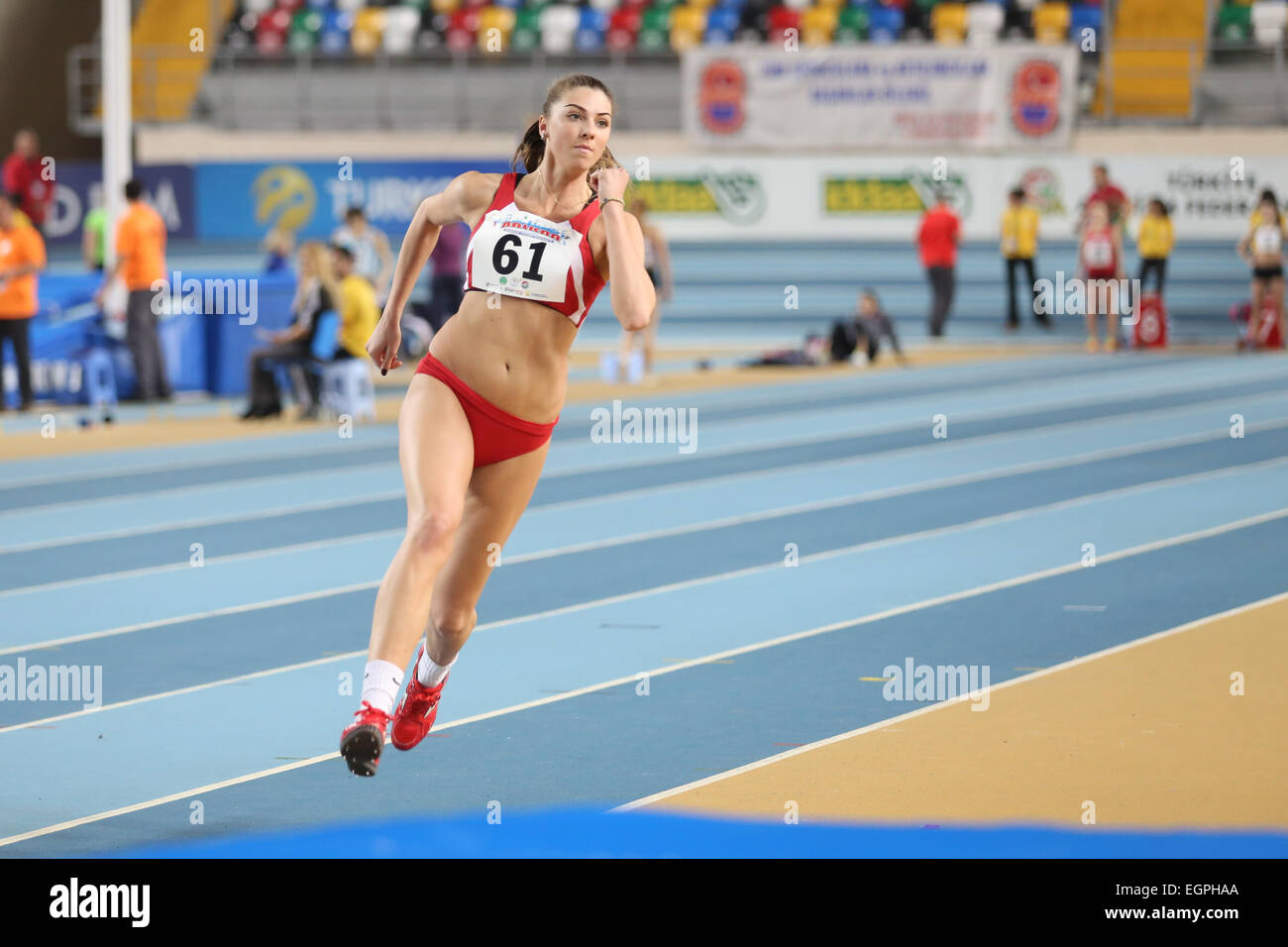 ISTANBUL, TURKEY - FEBRUARY 21, 2015: Montenegrin athlete Marija Vukovic high jump during Balkan Athletics Indoor Stock Photo