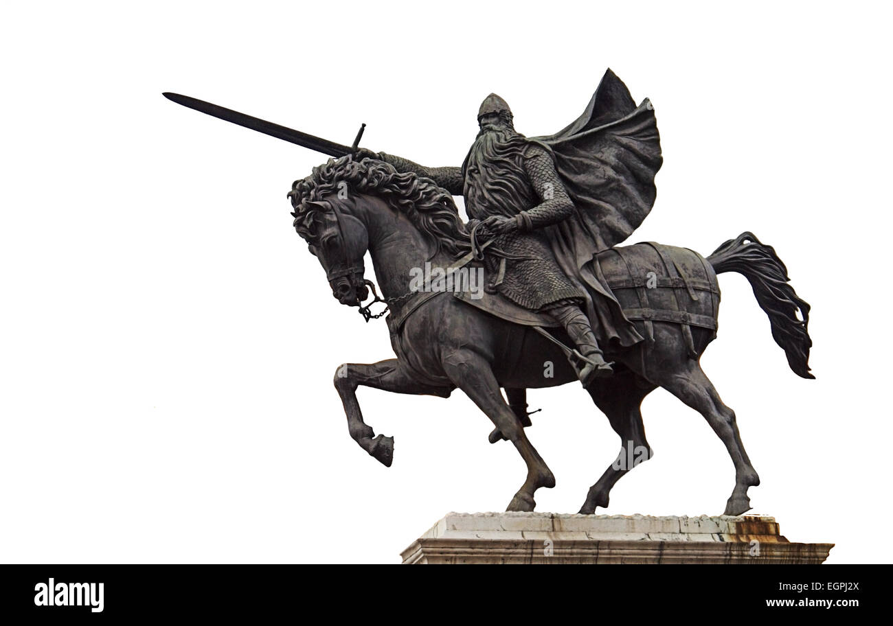 El Cid  Rodrigo Díaz de Vivar Bronze Equestrian Statue Horse  cut-out in the city of Burgos Northern Spain Stock Photo
