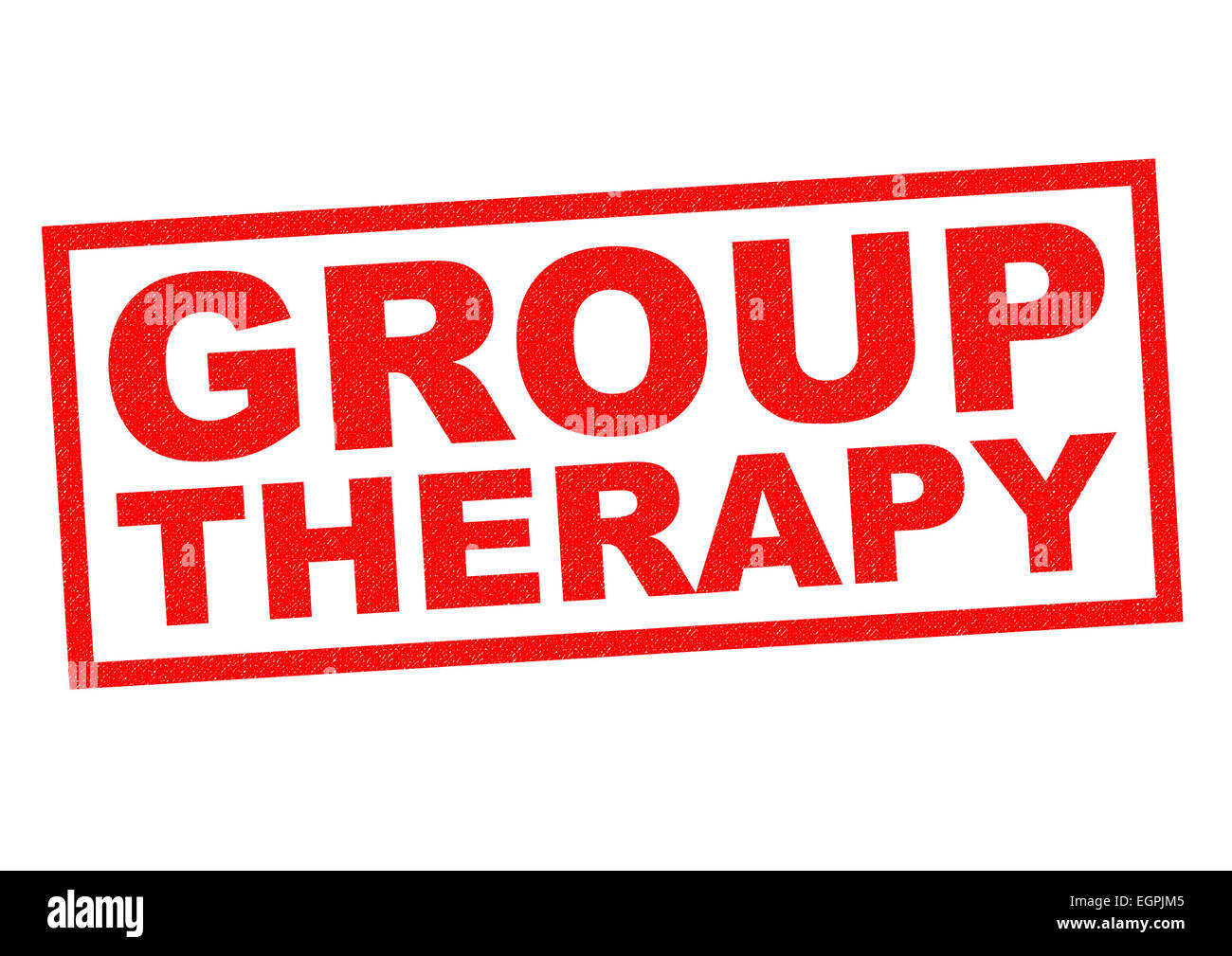 GROUP THERAPY red Rubber Stamp over a white background. - Stock Image