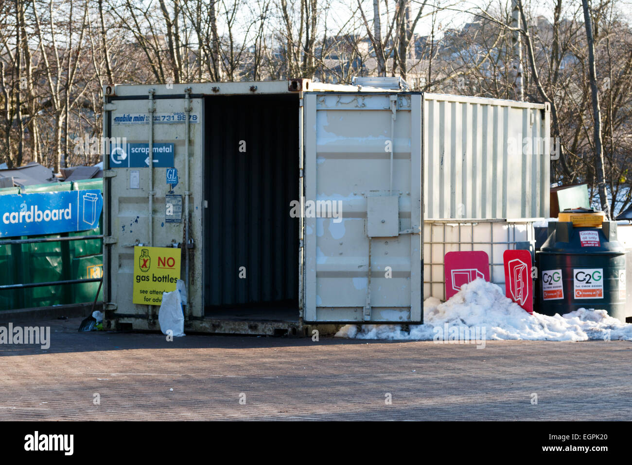 Domestic household waste collection and recycling centre in the UK. Council rubbish tip. - Stock Image