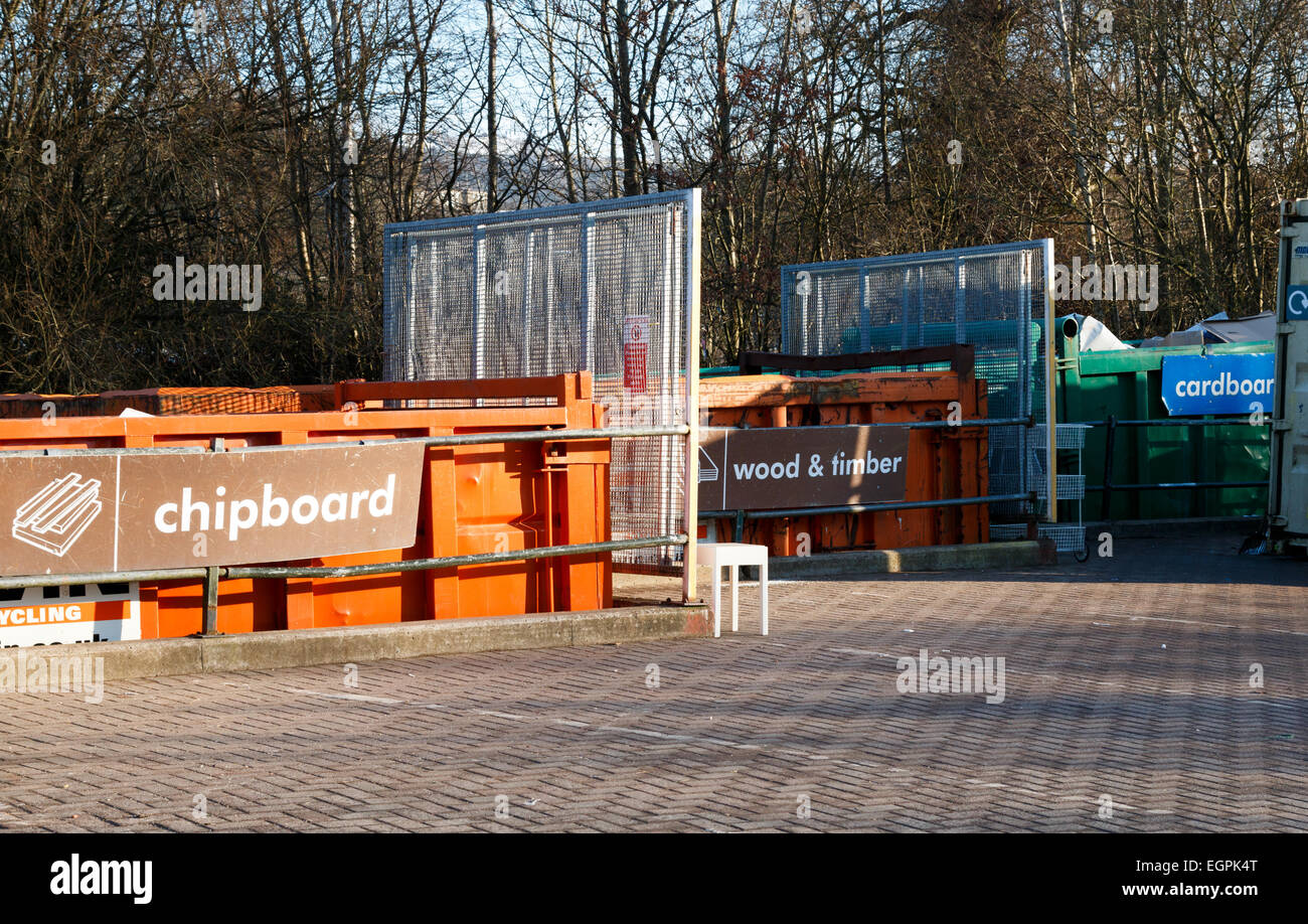 Domestic household waste collection and recycling centre in the UK. Chipboard and wood skips. - Stock Image