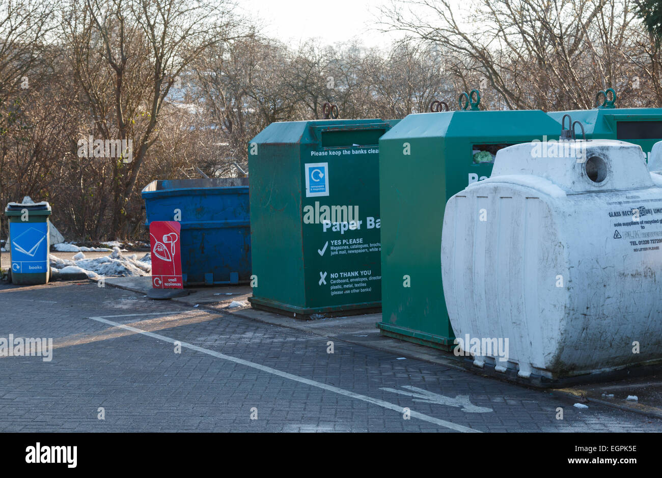 Domestic household waste collection and recycling centre in the UK. - Stock Image