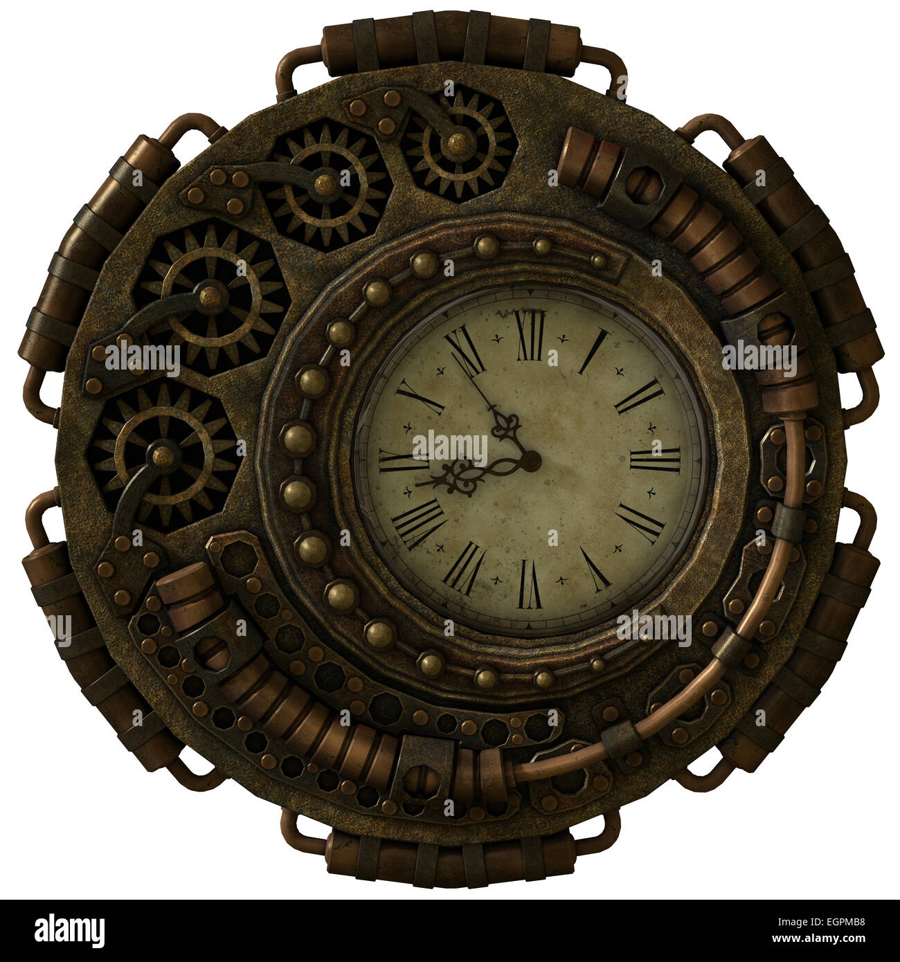 a 3d computer graphics of a clock in Steampunk style - Stock Image