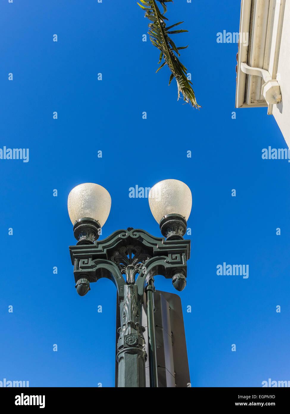 Classic decorative lamp post in Santa Barbara, California. - Stock Image