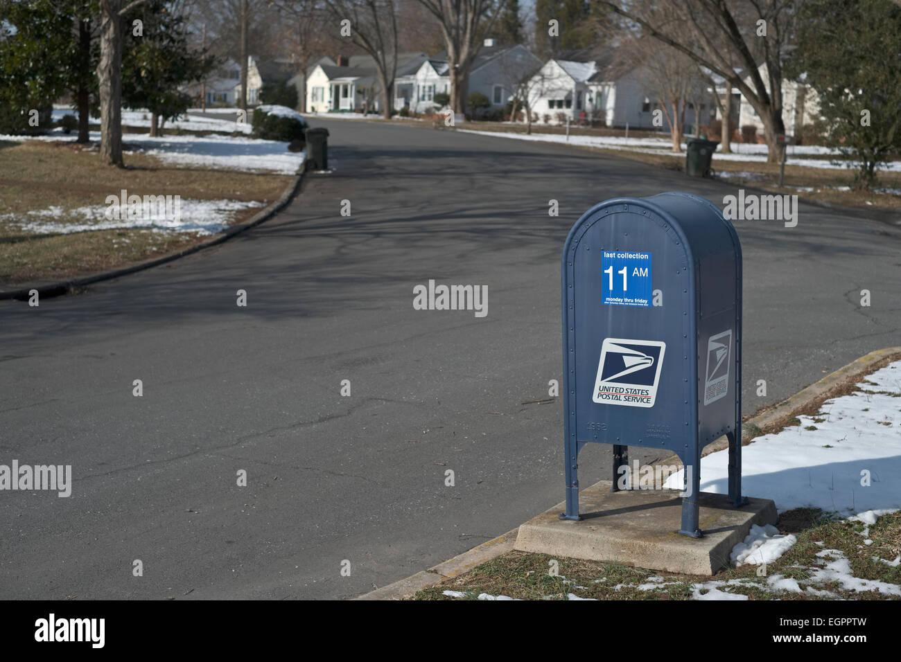 Blue Postal Mailbox Residential Collection Postal Box Stock Photo Alamy