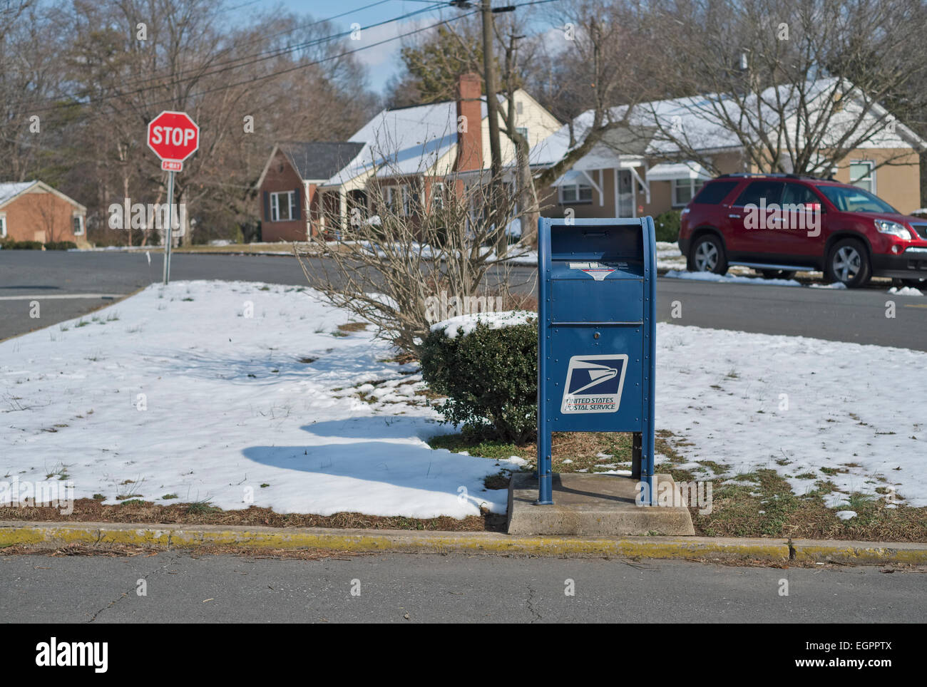 Blue postal mailbox. Residential collection postal box. - Stock Image