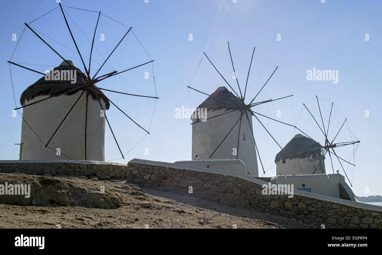 Chora, Mykonos, Greece. 3rd Oct, 2004. Three of the famous iconic windmills (Kato Mili) in Chora, Mykonos, that Stock Photo
