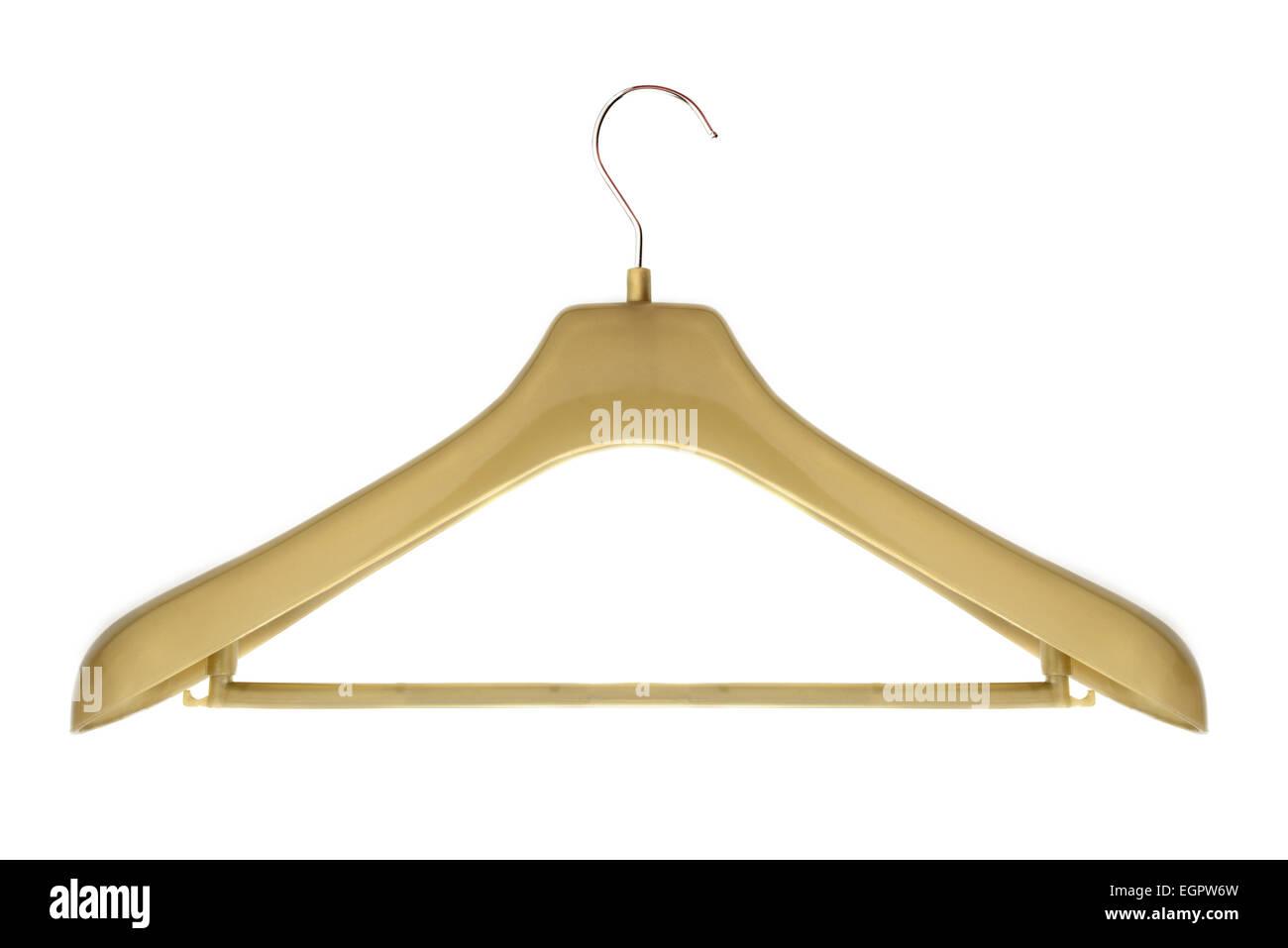 plastic coat hanger isolated on white - Stock Image
