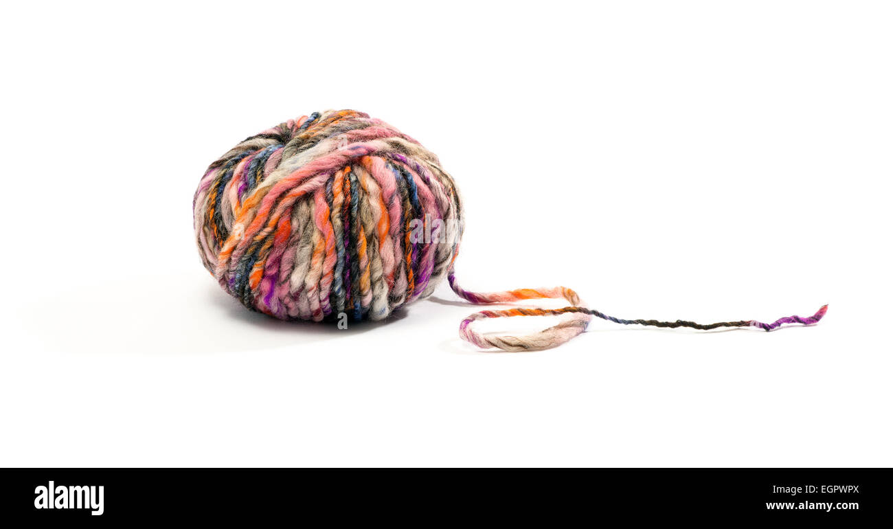 Close up One Ball of Wool with Various Colors Isolated on White Background Stock Photo
