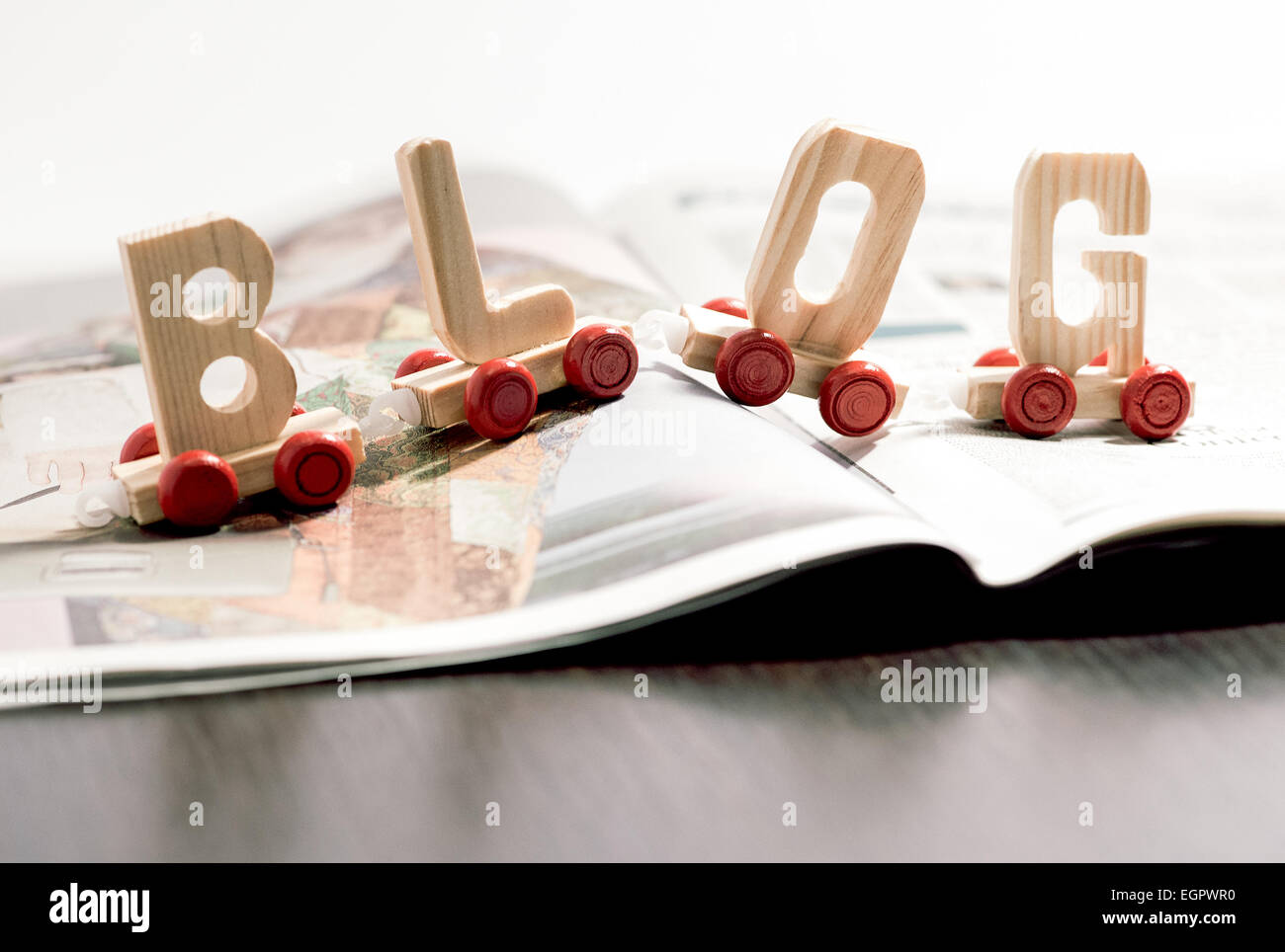 Word - Blog - in wooden letters - Stock Image
