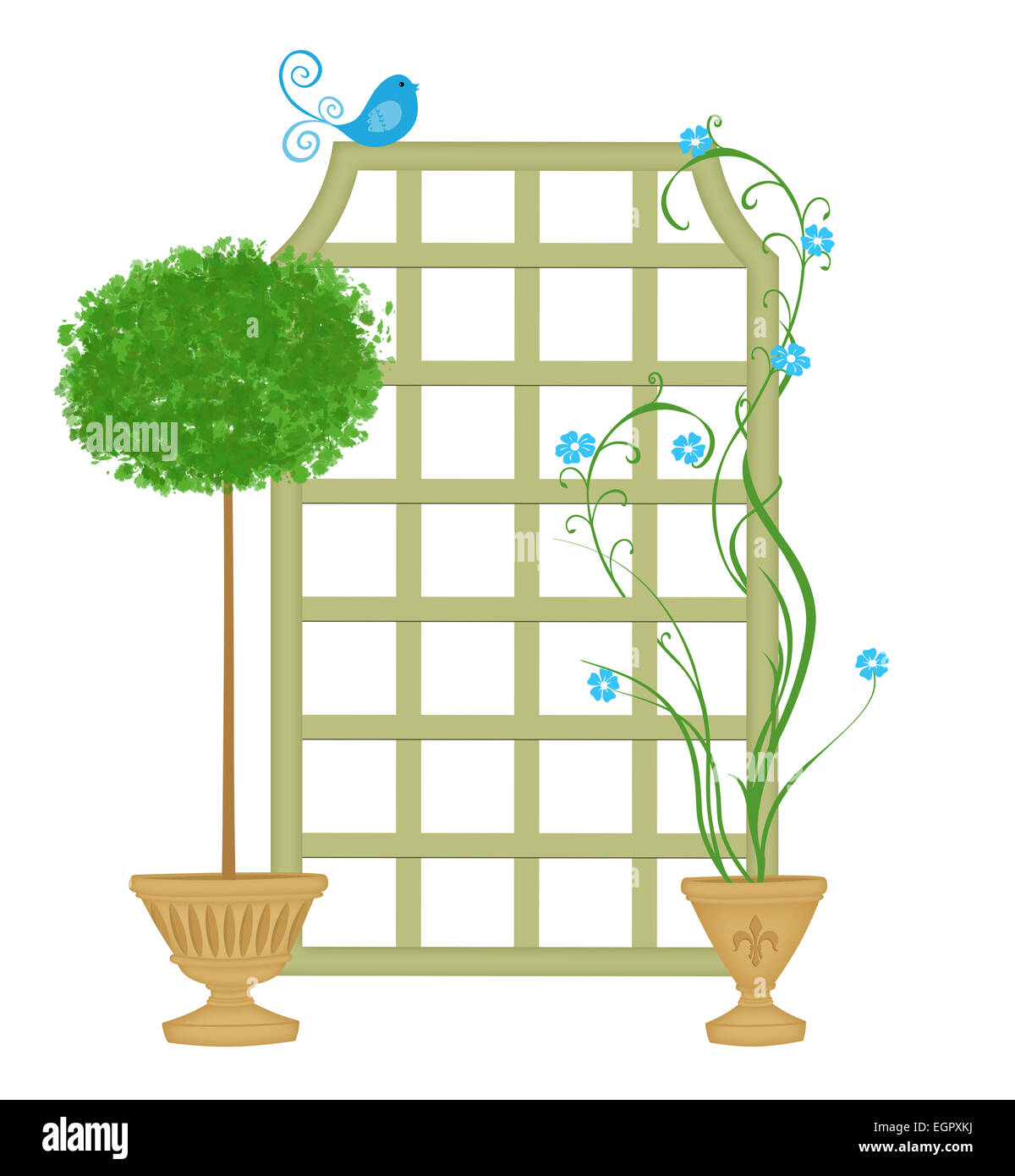 Trellis With Topiary and Twining Vines - Stock Image