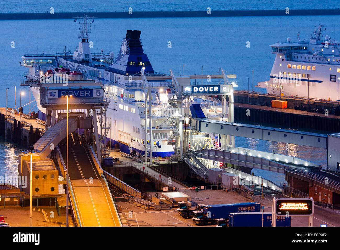 England, Dover. Docks, harbour. Night-time. Car ferry, stern facing, berthed at embarkation point 6. - Stock Image