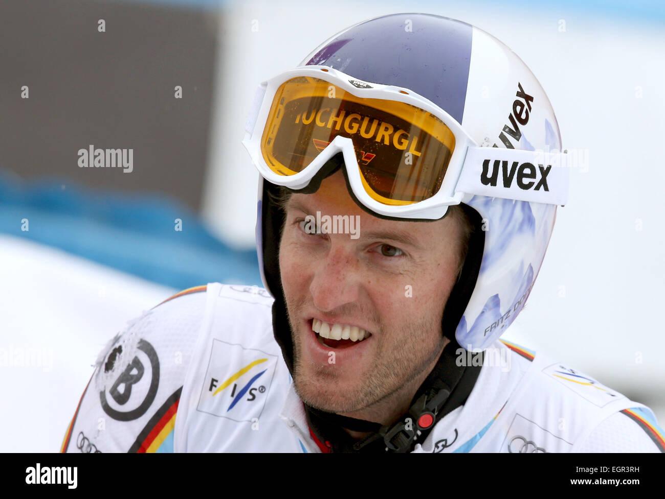 Garmisch-Partenkirchen, Germany. 01st Mar, 2015. Fritz Dopfer of Germany on the first run at the Men's Giant Slalom Stock Photo