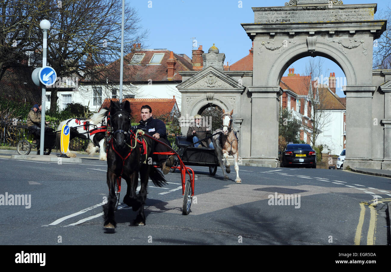 Brighton, UK. 1st March, 2015.  An unusual sight in Brighton today as five horse and trap drivers drove through - Stock Image