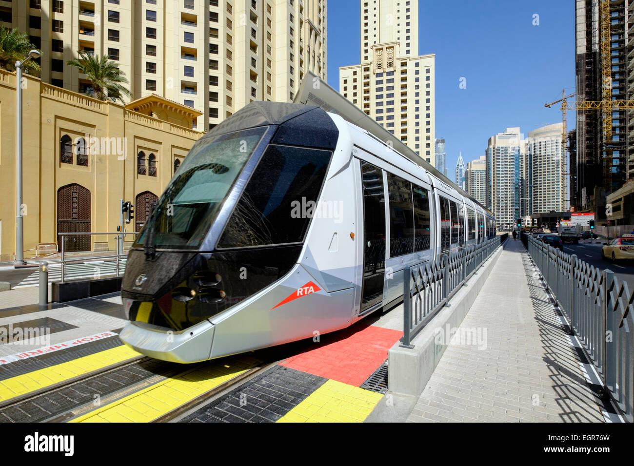 New Dubai tram in Marina district of New Dubai in United Arab Emirates - Stock Image