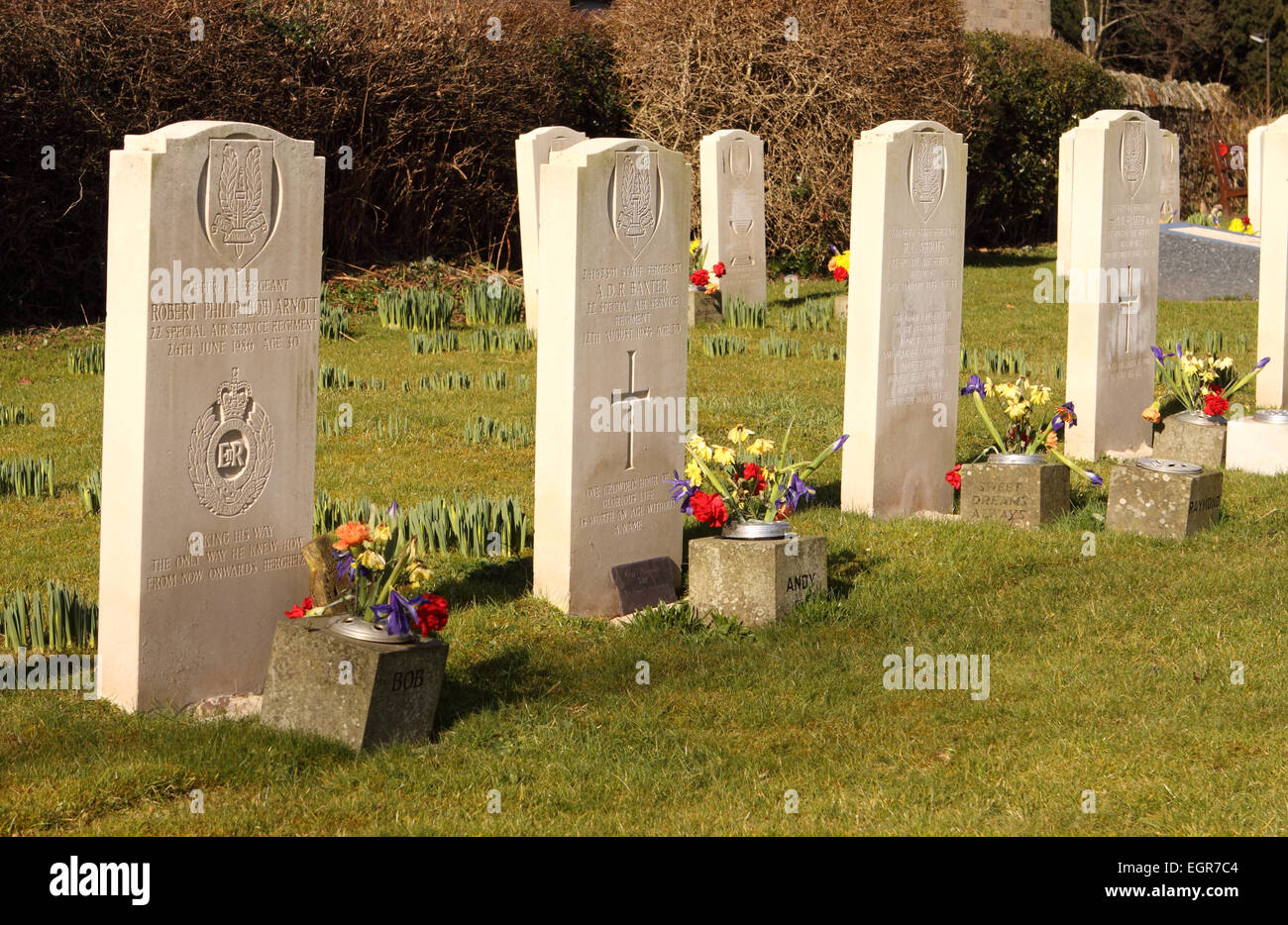 Special Air Service Regiment the SAS maintain a cemetery plot at St Martins Church in Hereford UK for fallen comrades - Stock Image