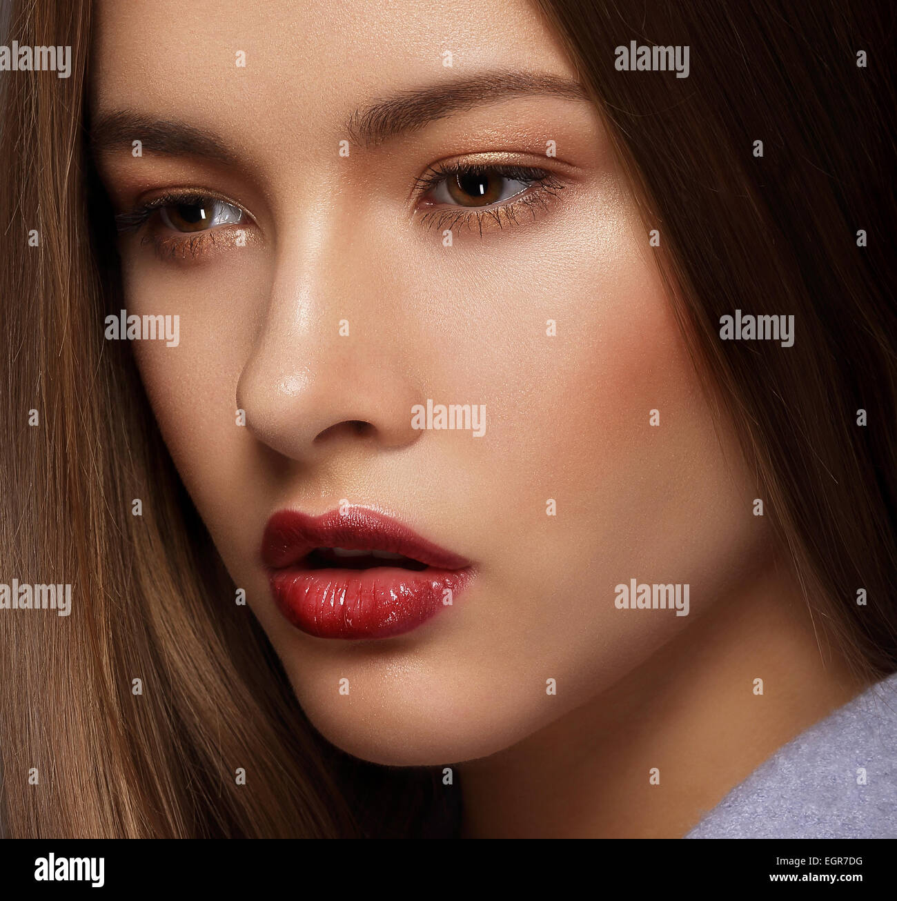 Close Up Portrait of Cute Woman with Perfect Skin - Stock Image