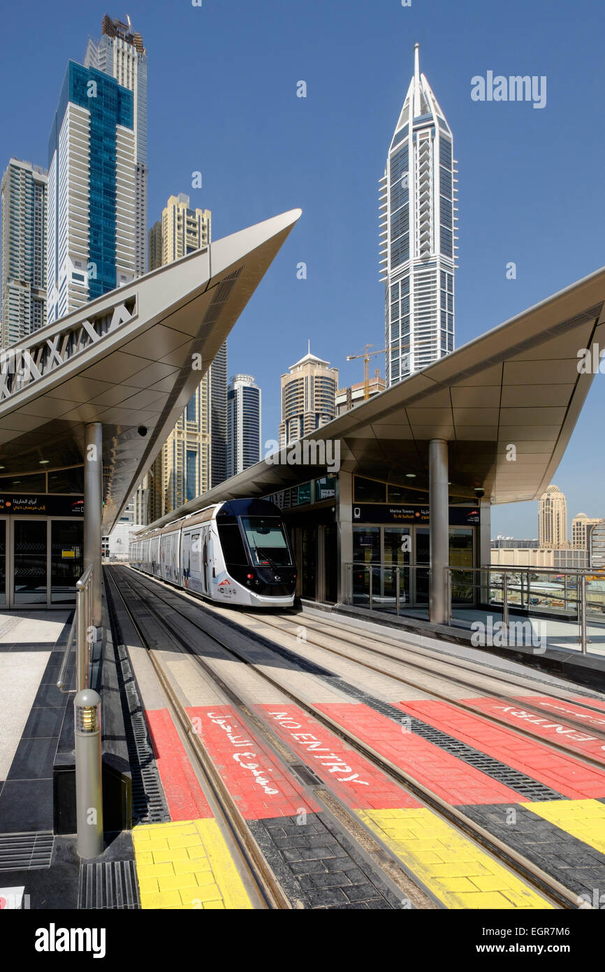 New Dubai tram at station in Marina district of New Dubai in United Arab Emirates - Stock Image
