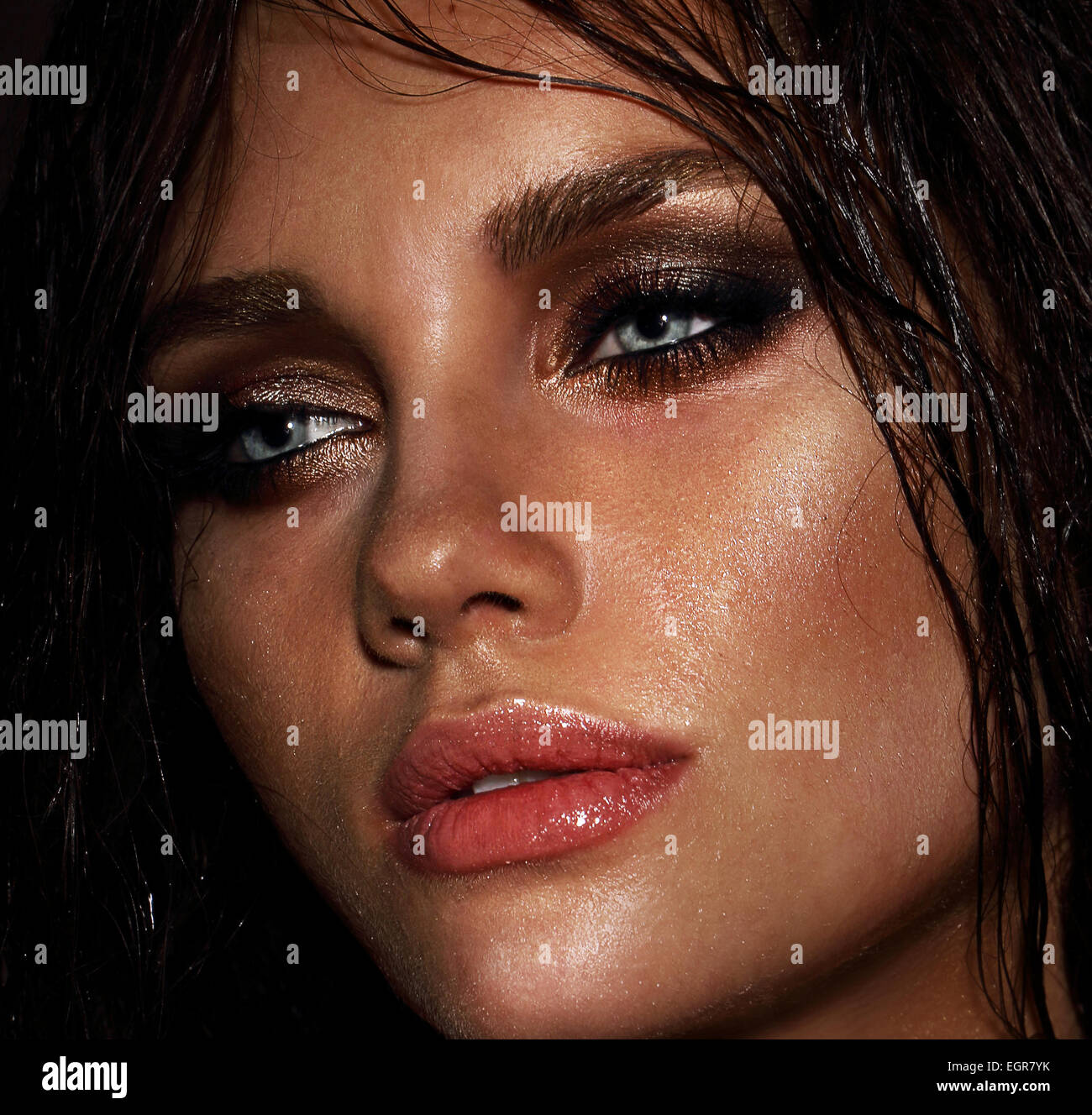Close Up Portrait of Young Woman - Stock Image