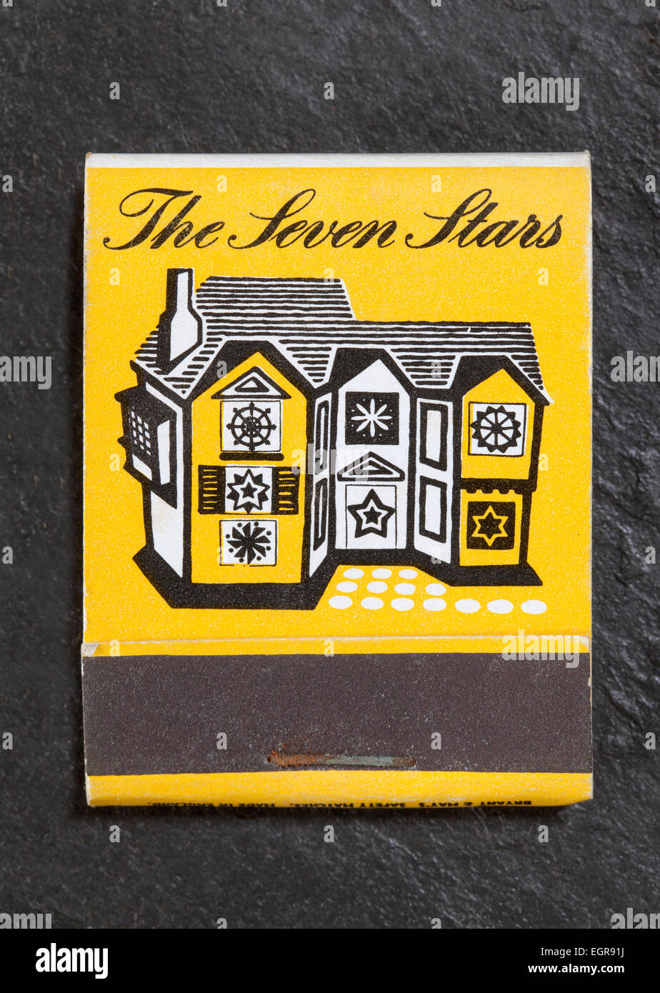 Vintage British Matchbook advertising The Sevens Stars Lyons Corner House England UK - Stock Image