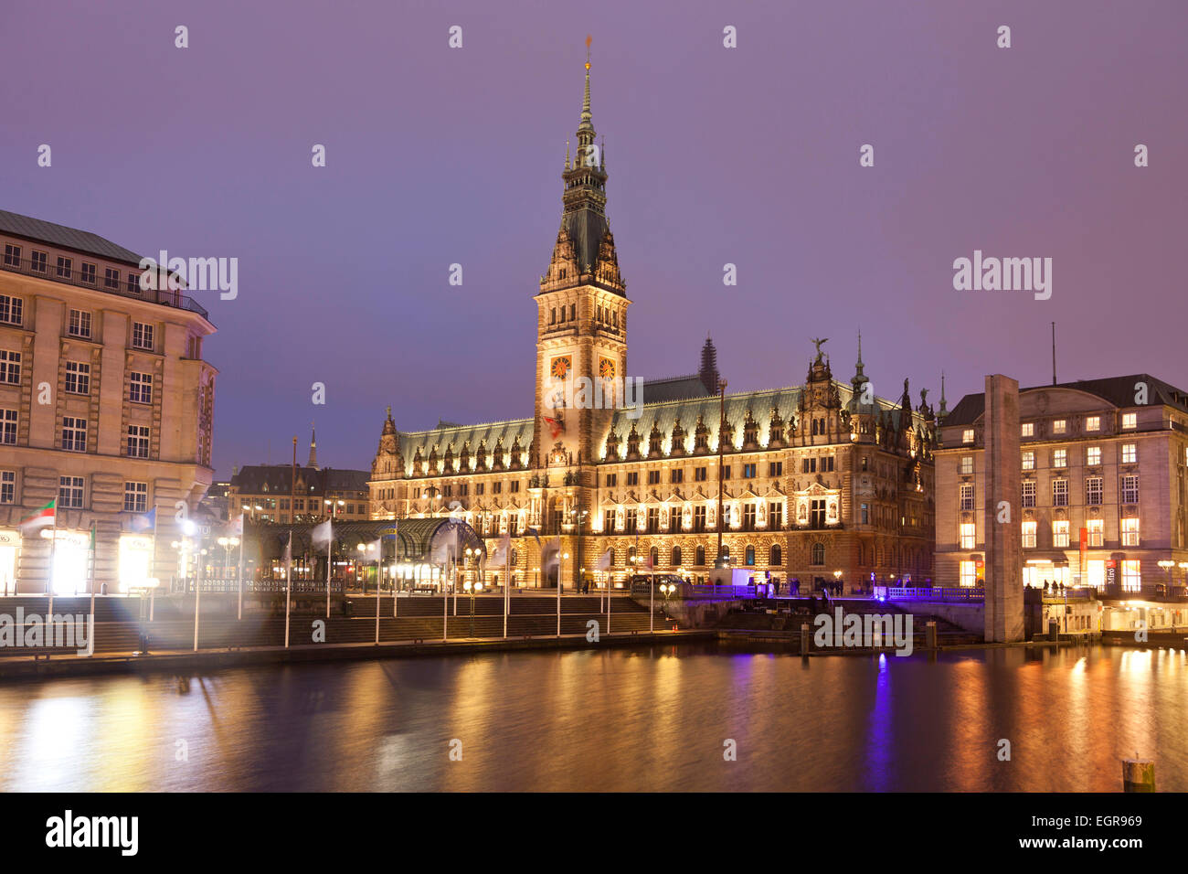 City Hall and Kleine Alster canal, Hamburg, Germany, Europe - Stock Image