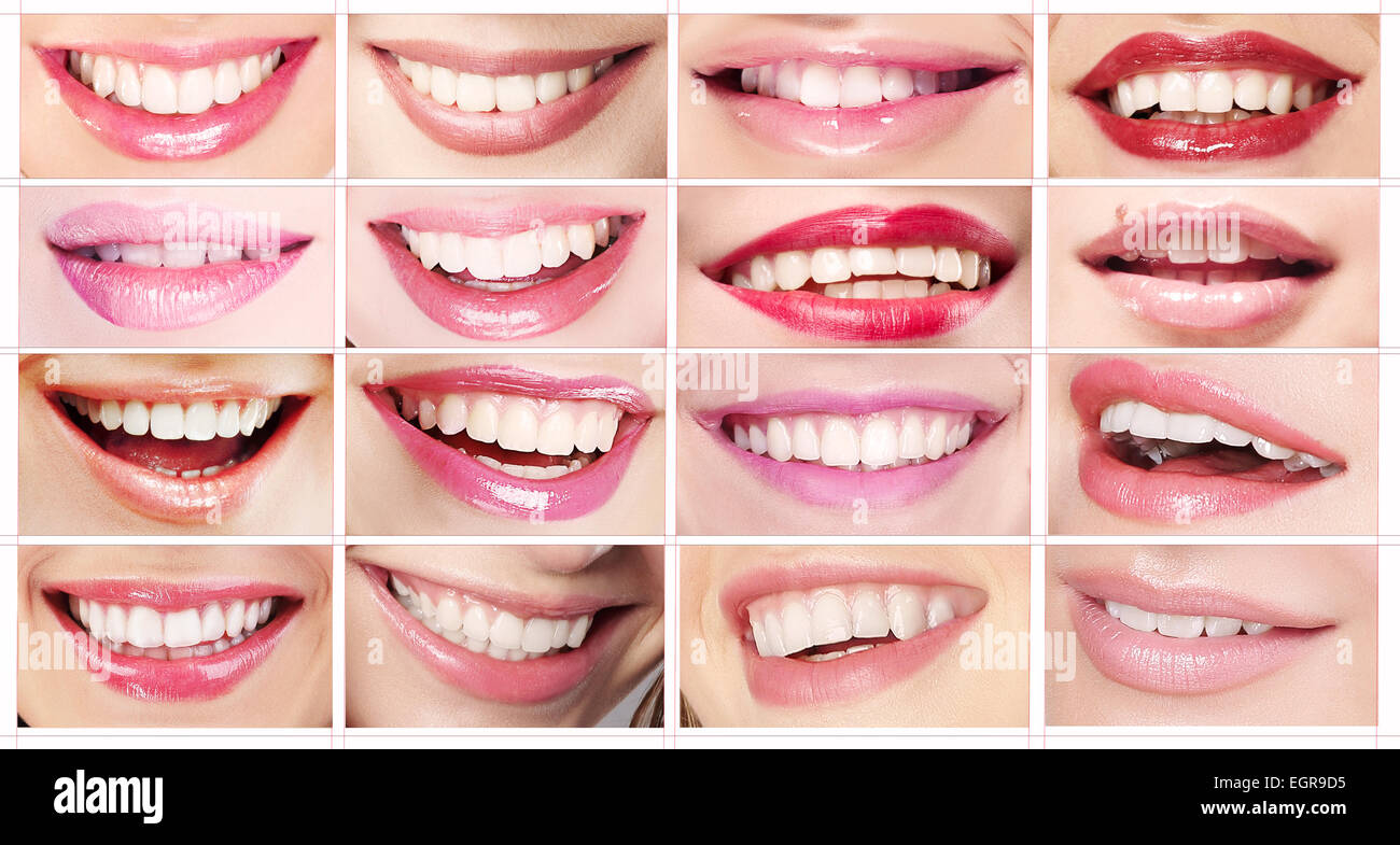 Lipsticks. Set of Women's Lips. Toothy Smiles - Stock Image