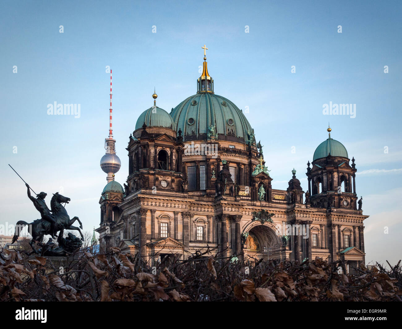 Berlin Dome, Berliner Dom, Berlin cathedral, Protestant Evangelical church, Baroque style building with green dome - Stock Image