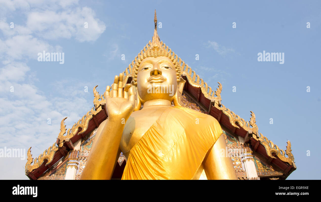 Giant Buddha in Thailand, is a sacred right to be respected - Stock Image