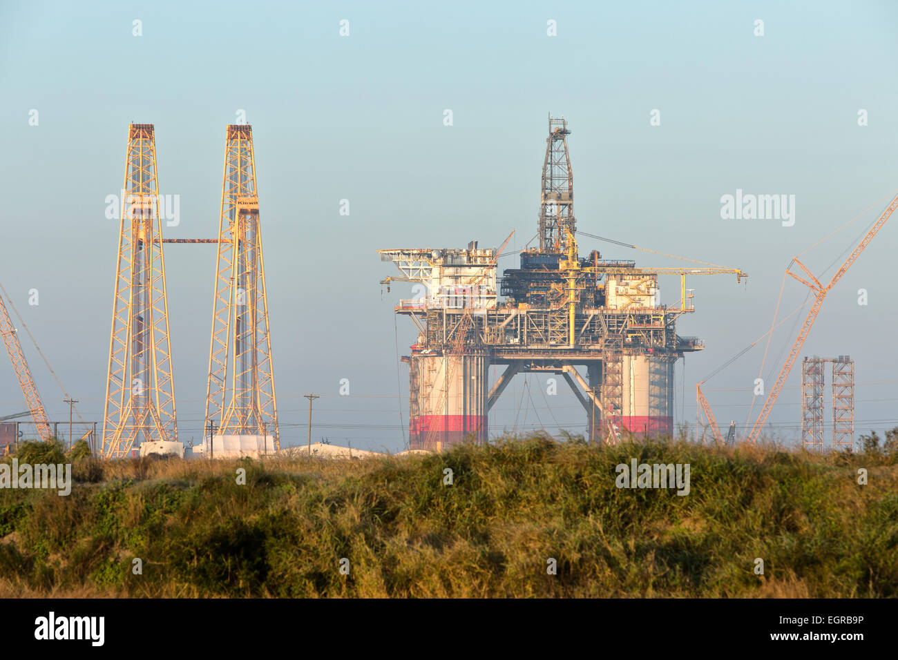 Construction of 'Big Foot'  deepwater oil & gas drill platform nearing completion. - Stock Image