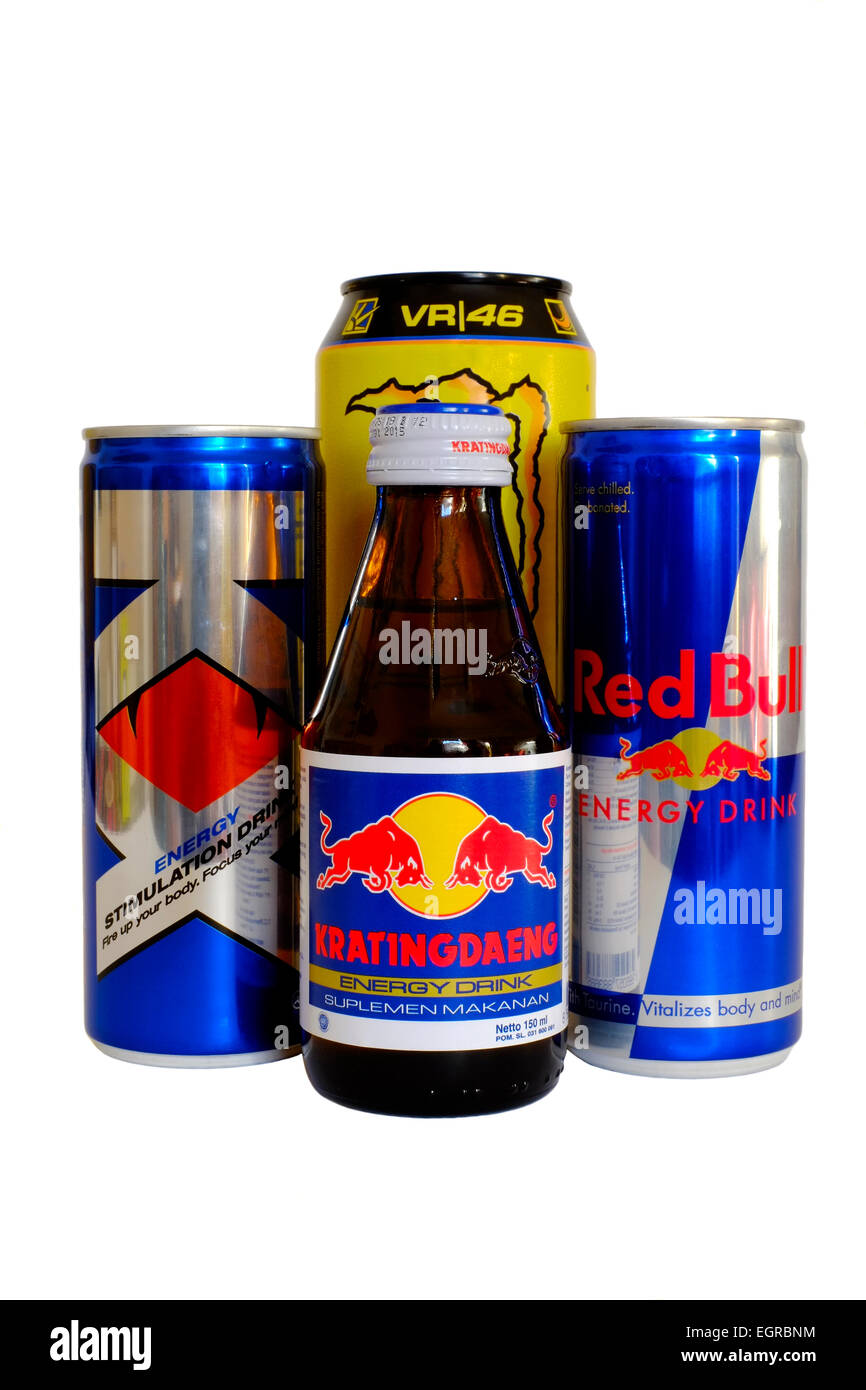 assortment of popular energy drinks against a white background - Stock Image