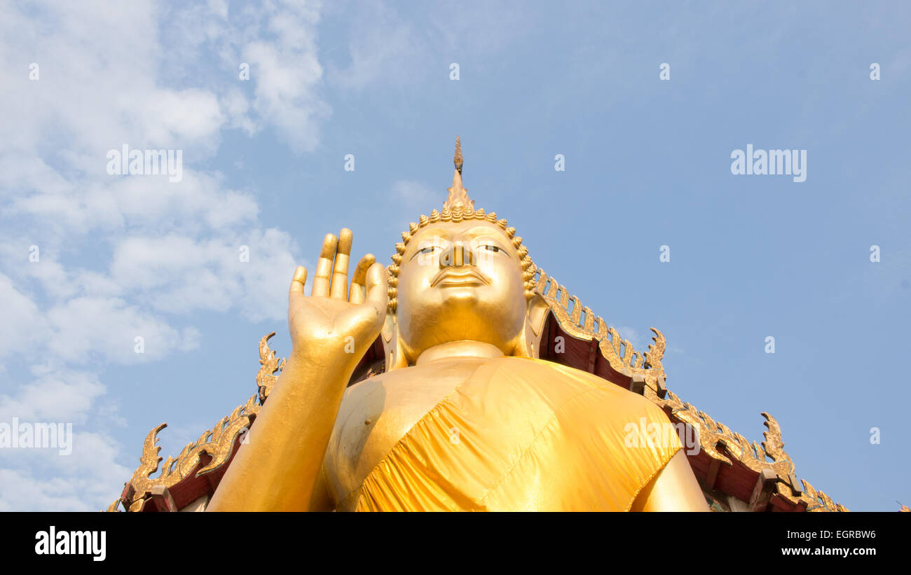 Giant Buddha in Thailand, is a sacred right to be respected Stock Photo