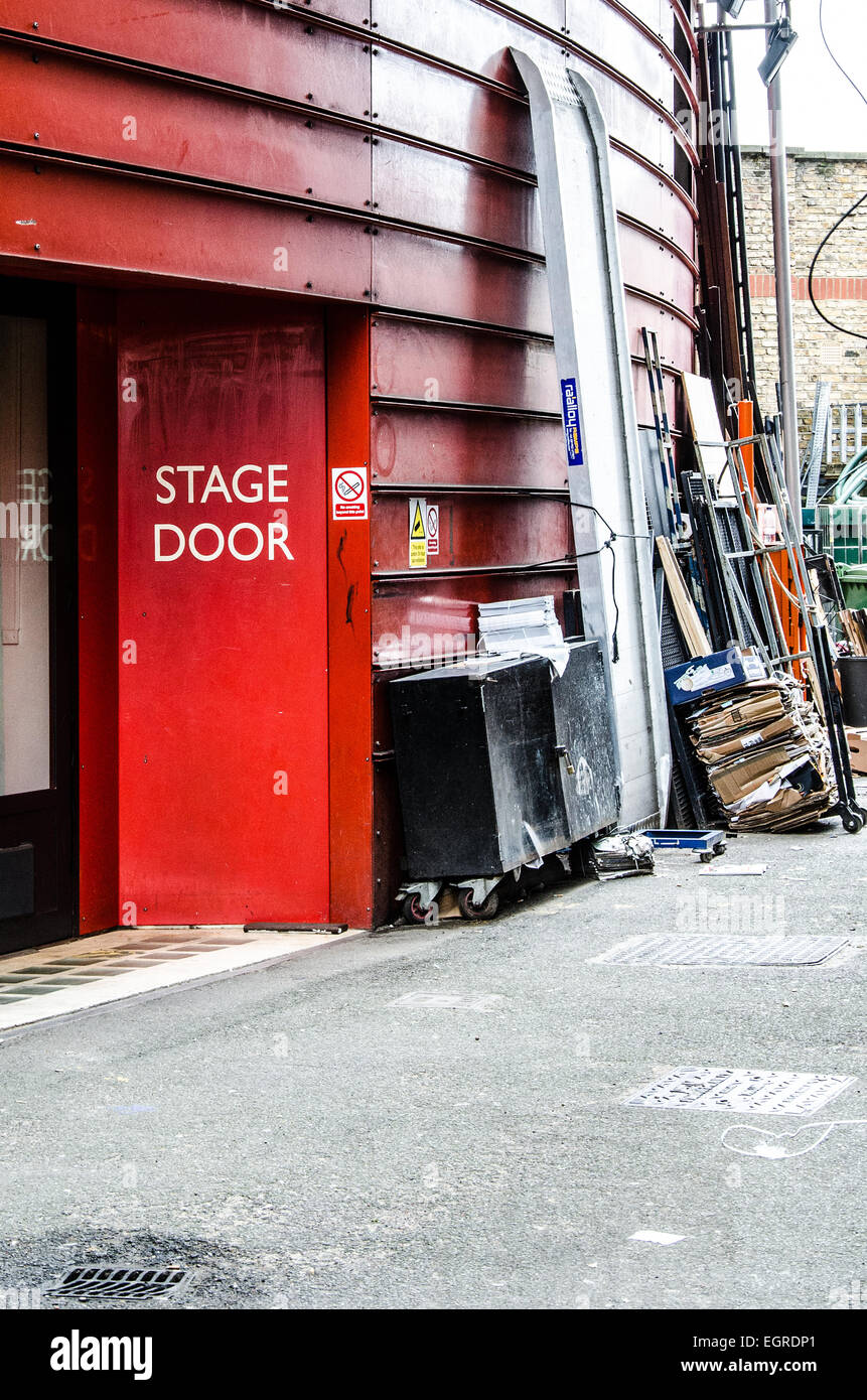 Stage door to The Royal Court Theatre, a non-commercial theatre on Sloane Square, in the Royal Borough of Kensington, - Stock Image