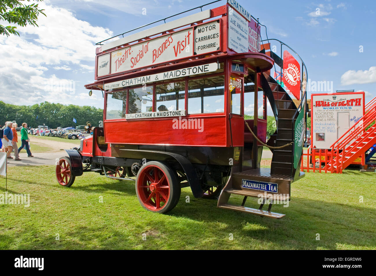 1912 Hallford open top chain driven bus - Stock Image