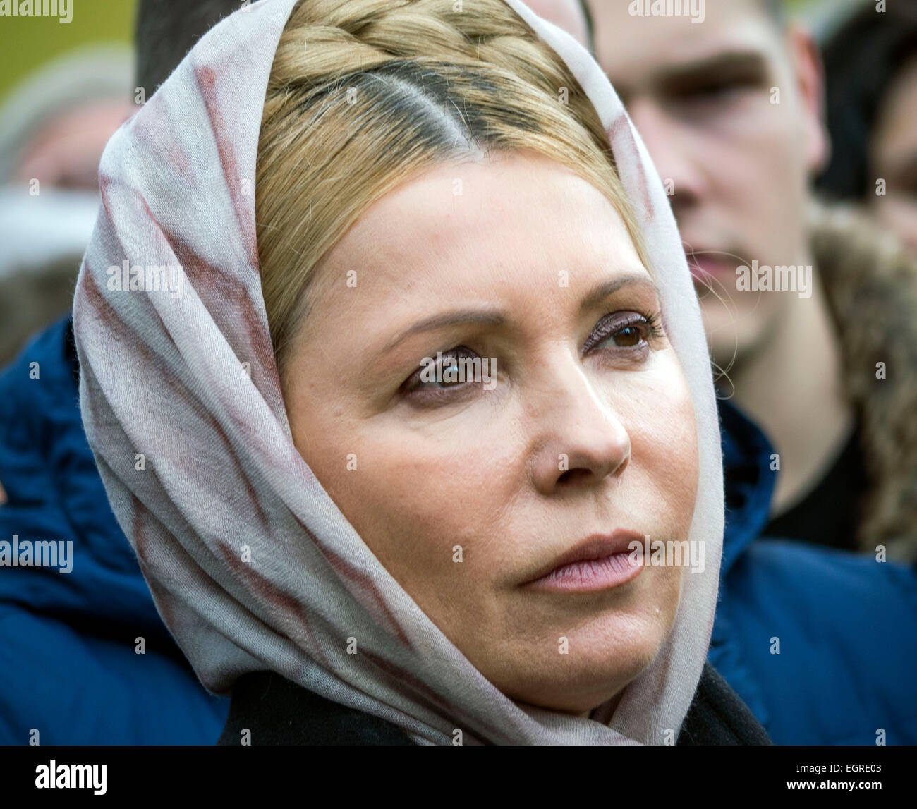 Kiev, Ukraine 1st March 2015. Yulia Timoshenko during rally. -- Activists demand the release of Ukrainian government - Stock Image