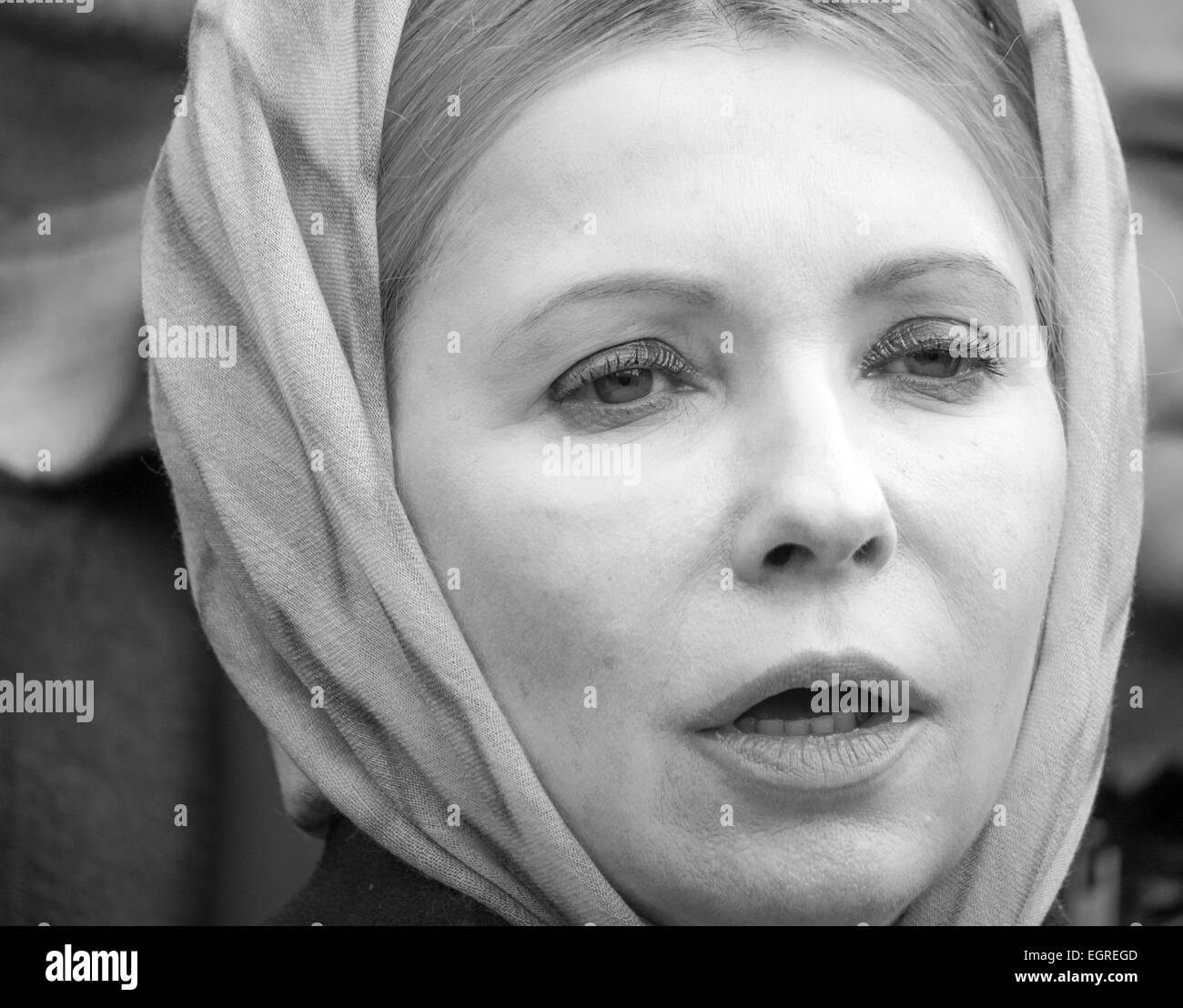 Yulia Timoshenko during rally. 1st Mar, 2015. -- Activists demand the release of Ukrainian government forces pilot - Stock Image
