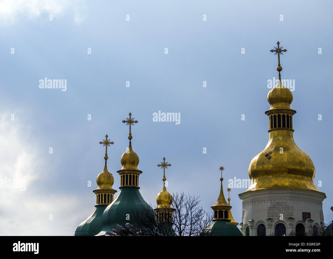 The ancient church of St. Sophia Cathedral Ukraine. 1st Mar, 2015. -- Activists demand the release of Ukrainian - Stock Image