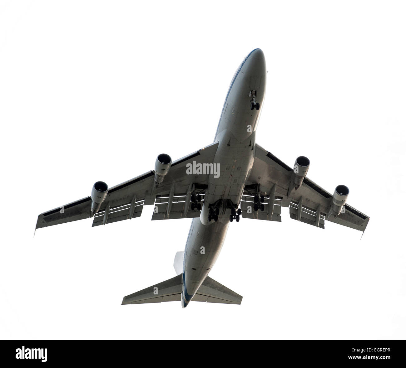 jumbo jet from underneath on a white background - Stock Image