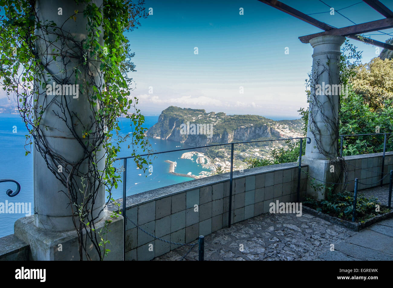 View of Mediterranean from top of Capri - Stock Image