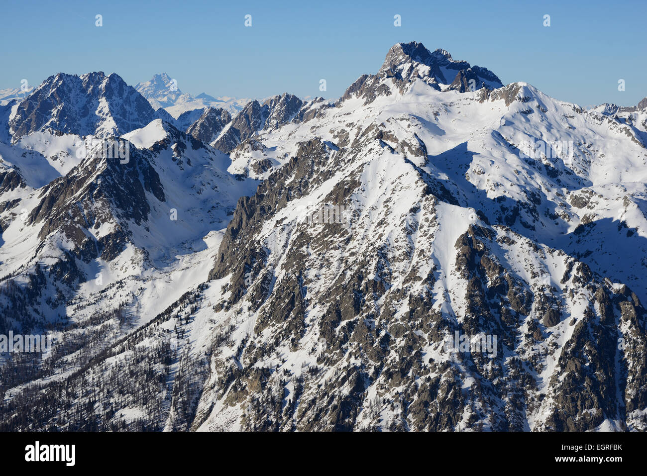 MONTE ARGENTERA (aerial view). Highest summit (3297m) in the coastal Alps. Summit in Italy, viewed from the French Stock Photo