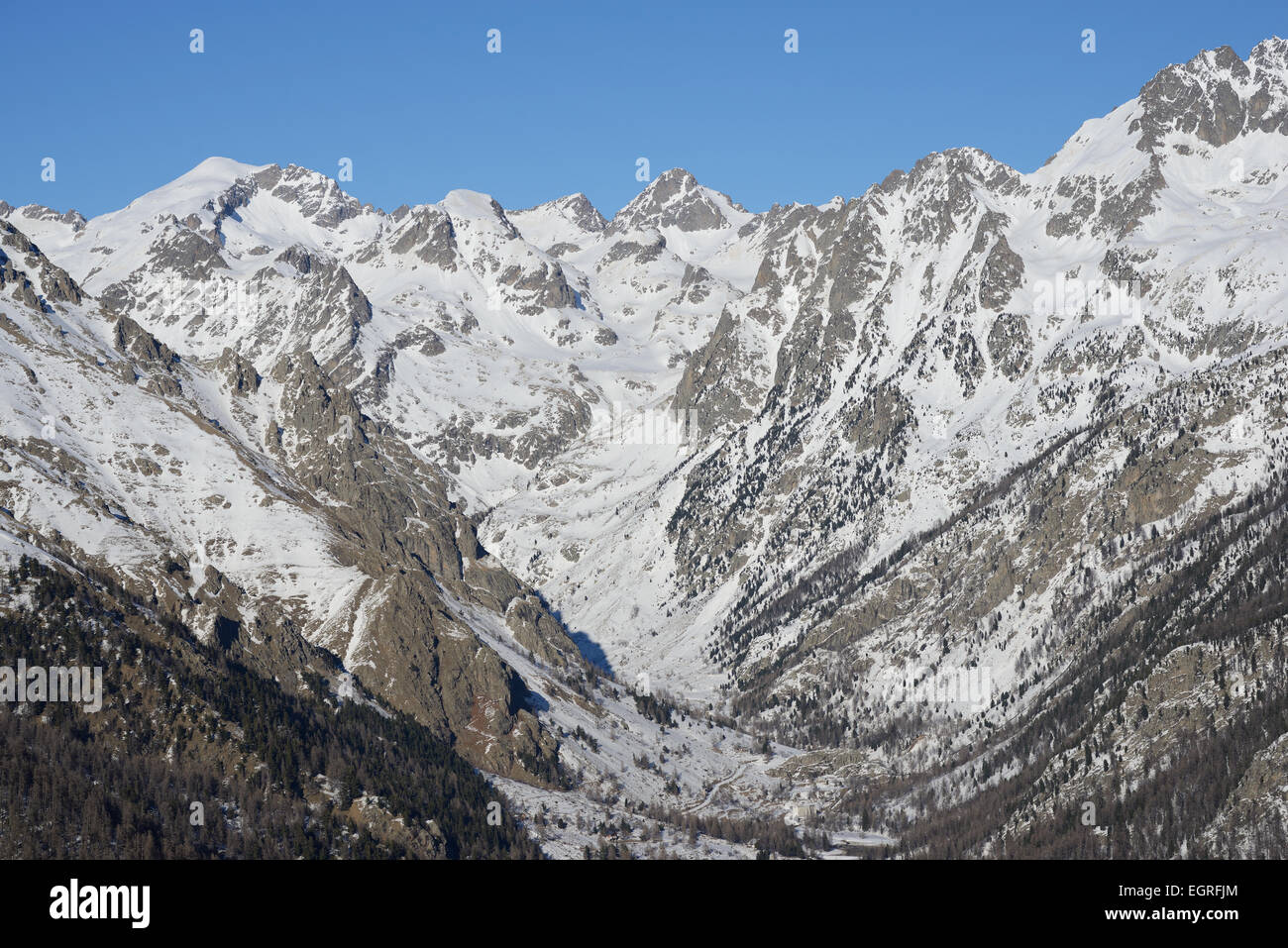 GORDOLASQUE VALLEY (aerial view). Mercantour National Park, Alpes-Maritimes, French Riviera, France. Stock Photo