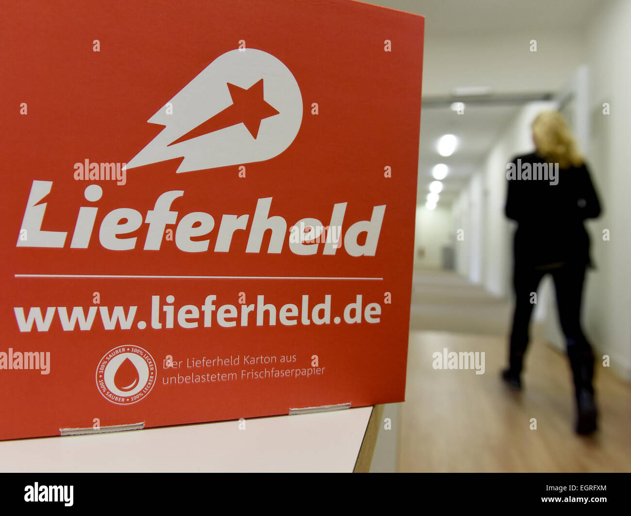 Berlin, Germany. 24th Feb, 2015. The logo of online order and delivery platform 'Lieferheld' is on display - Stock Image